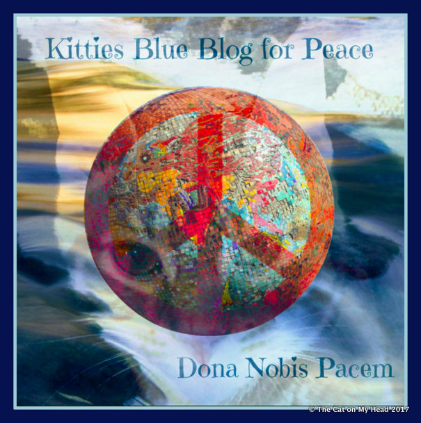 Kitties Blue Peace Glob for Blog Blast 4 Peace.