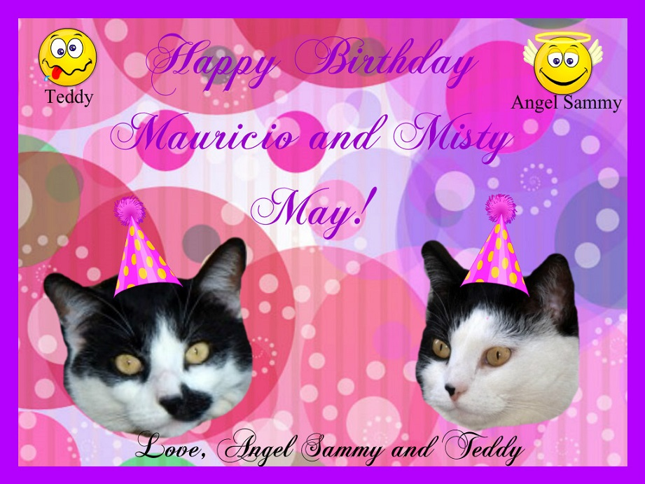 Birthday card for Mauricio and Misty May.